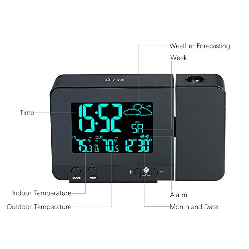 OESFL LCD Digital Projection Alarm Clock Radio-Controll Wireless Wetter Station Projektion Uhr mit Datum Dual Alarm Snooze Funktion,Blue