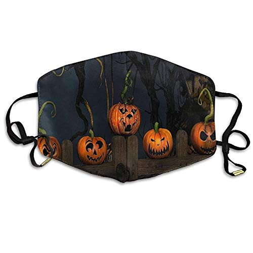 h Mask with Design, Reusable Half Face Mask Anti-dust Mask, Womens Fashion Mouth Face Mask Halloween Pumpkin On The Wooden Door.jpg ()