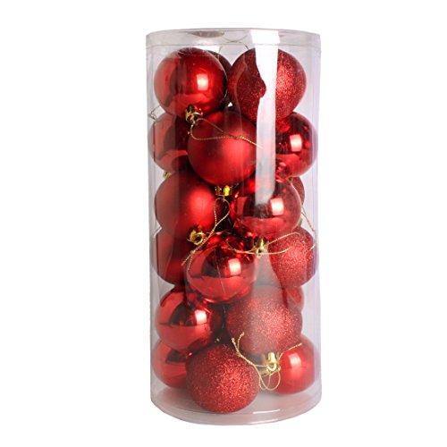 Andux Zone bolas de navidad decoración de Navidad Navidad bolas adornos árbol mate y brillante 24 unidades 60mm SDCQ-01