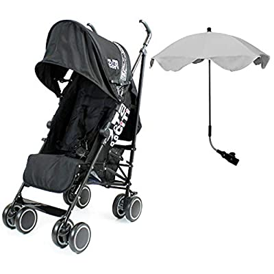 Zeta Citi Stroller Buggy Pushchair with Sun Protection Parasol (Zeta Citi Black + Grey Parasol)