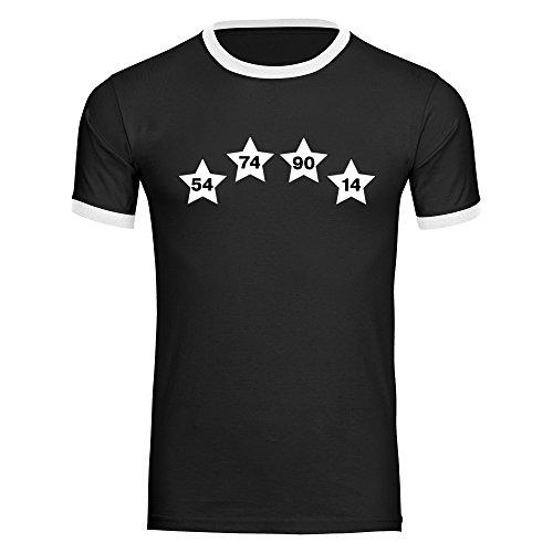T-Shirt Deutschland mit Vier Sterne mit Jahreszahlen invers auf der Brust Trikot Herren Schwarz Gr. S-2XL - Fußball Weltmeister Germany Weltmeisterschaft WM 2018 Russland, Größe:L