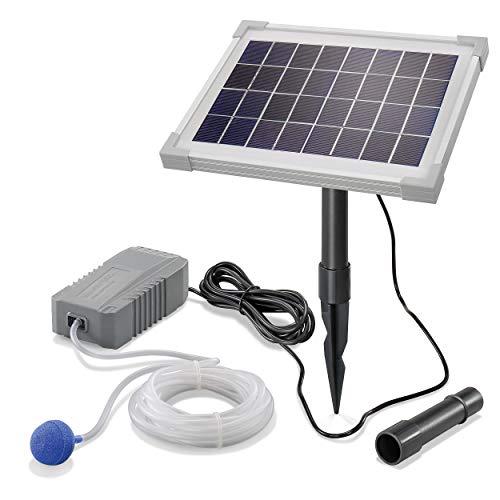 Solar Teichbelüfter Professional - 5W Solarmodul 130 l/h Luft - extragroßes Solarmodul für beste Funktion - Gartenteich Belüftung Sauerstoffpumpe Teich Luftpumpe Teichpumpe esotec pro 101842
