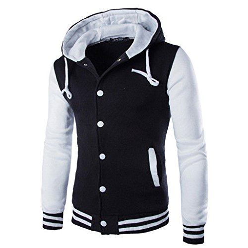 THINKBEST Herren Kapuzen Hoodie Varsity University College Sweat Baseball Jacke Sport Trainingsjacke