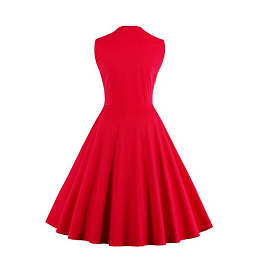 Dissa M1357 femme Rockabilly Robe de Soiré cocktail Robe de Bal Retro Fleur rouge