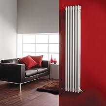 Hudson Reed Radiador Calentador Tradicional Diseño Vertical Triple - Acero Blanco - 1500mm x 291mm -