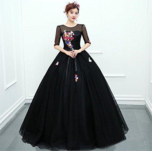 ELEGENCE-Z Hochzeitskleid, Temperament Schwarz Hochwertige Mesh-Rundhalsausschnitt Dreidimensionale...