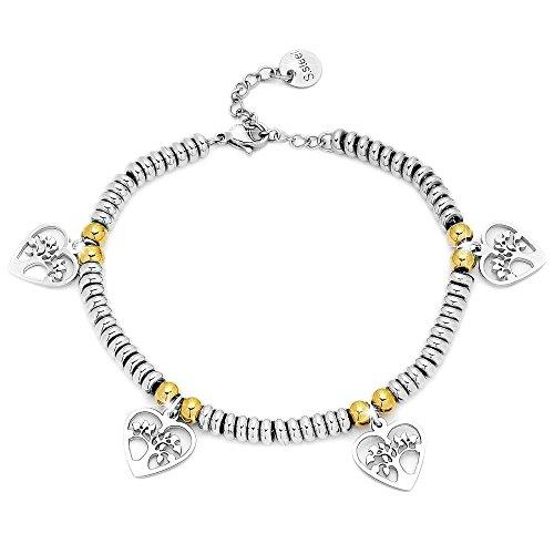 Beloved ❤️ bracciale da donna, braccialetto in acciaio con ciondoli pendente colore argento, colore oro - misura regolabile - anallergico (albero della vita heart silver)
