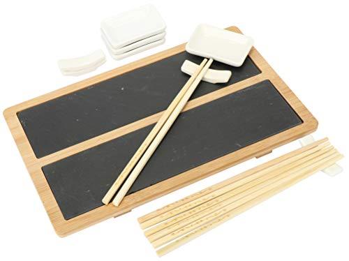 Set para servir sushi - elegante plato de pizarra y madera de bambúIdeal para servir: El set para servir es ideal para servir sushi hecho en casa, ¡porque el ojo come contigo! Conjunto de alta calidad: El set de servir sushi es procesado de alta cali...