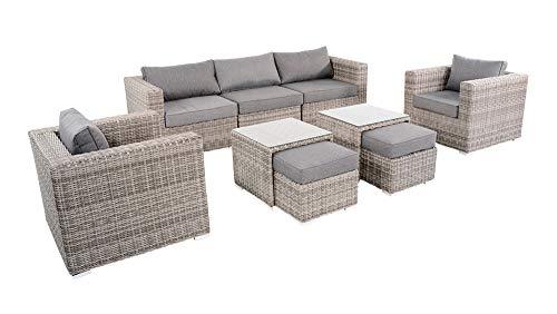 lifestyle4living Gartenbank 3 Sitzer aus Polyrattan Geflecht in grau inkl. Kissen. Die Loungebank ist wetterfest, ideal für Garten, Terrasse und Balkon.