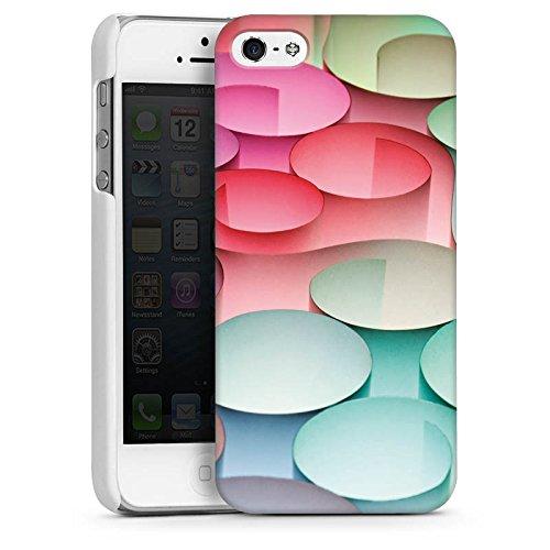 Apple iPhone 4 Housse Étui Silicone Coque Protection Cercles Papier Structure CasDur blanc
