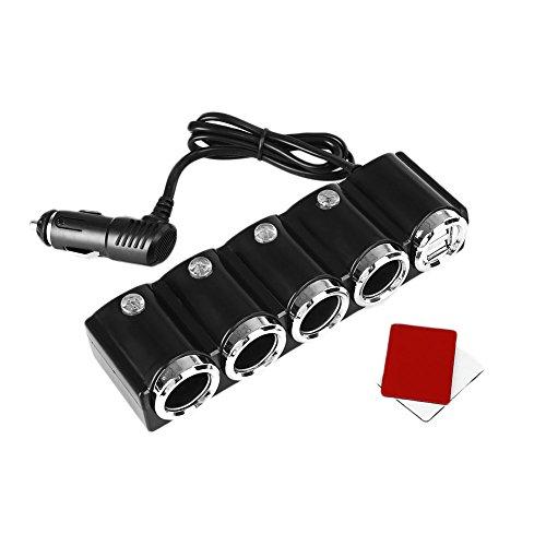 Cewaal 4-Wege Auto Zigarettenanzünder Multi Socket Splitter Dual USB Power Ladegerät (Auto-power-splitter)