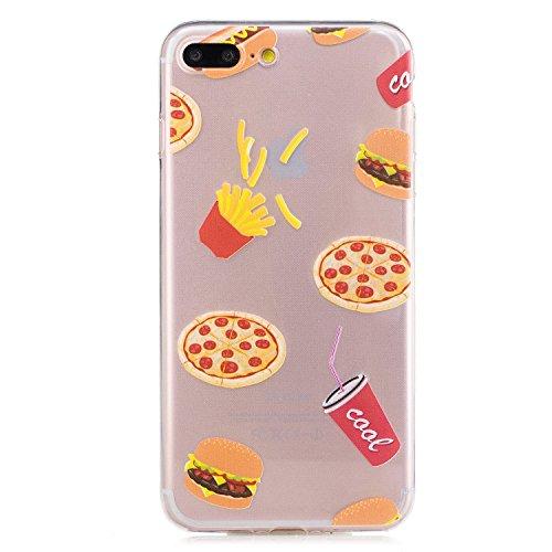 XiaoXiMi Coque iPhone 6/iPhone 6S Housse Transparent Etui en Silicone Soft Clear TPU Case Cover Housse Souple de Protection Coque Mince Léger Etui Flexible Lisse Couverture Anti Rayure Anti Choc Houss Mignon Pizza Hamburger