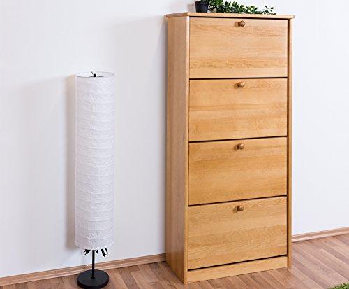 Schuhschrank Kiefer Vollholz massiv Erlefarben Junco 210 - Abmessungen: 150 x 70 x 28 cm (H x B x T)