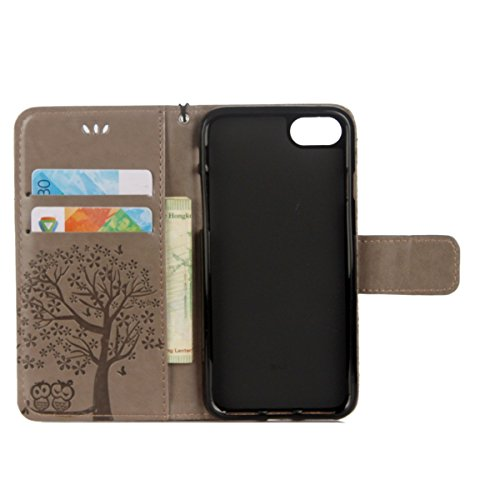 iPhone 5S Coque Dragonne Portefeuille PU Cuir Etui,iPhone 5S Coque Ultra Fine,iPhone SE Etui Cuir Folio Housse PU Leather Case Wallet Flip Protective Cover Etui [PU Cuir et TPU Silicone Inner Case] Po Hibou - Gris