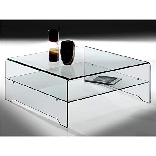 Transparente Gebogene Glas-Couchtisch mit Regal Amarina 100 cm -