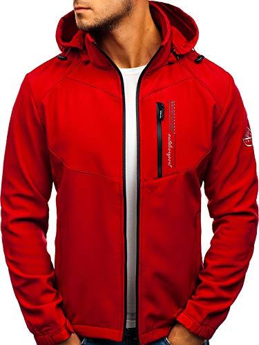 BOLF Herren Softshell Übergangsjacke Kapuze Outdoor Sportlicher Stil ALNWICK 82628 Rot 3XL [4D4]