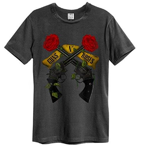 Amplified Guns n Roses Shooting Roses T-Shirt Charcoal