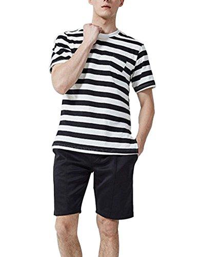 GUOCU Herren Streifen Gewebte Shorts Training Kurze Hose Kordelzug Beach-Shorts/Bermuda-Shorts/Freizeit-Hose L Schwarz