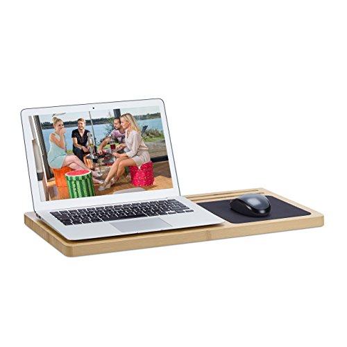 Relaxdays Laptoptisch Fürs Bett, Computertisch Klein, Mini PC Tisch,  Knietablett Laptop, Bambus