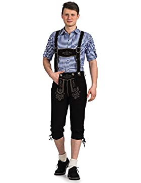 Herren Trachten Lederhose Kniebundhose mit Trägern aus feinstem Ziegenveloursleder in schwarz verfügbar in Größe...