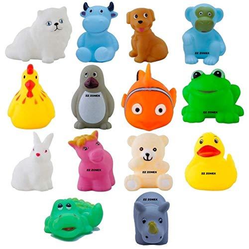 ZZ ZONEX 12 Piece Toddler Baby Bathtub Bathing Chu Chu Squeeze Bath Toys Non-Toxic BPA Free, Animal Shape