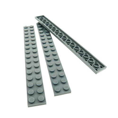 3 x Lego System Leiste Basic Bau Platte Stein neu-hell grau 2...