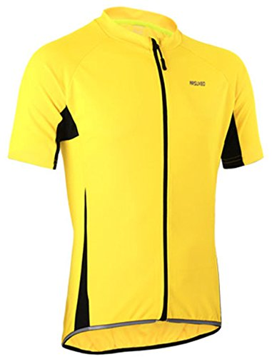 Radtrikot Kurzarm Herren Atmungsaktiv Fahrrad Trikot Full Reißverschluss Schnell Trocken Radsport MTB Fitness Jersey (EU L (Tag XL), Gelb)