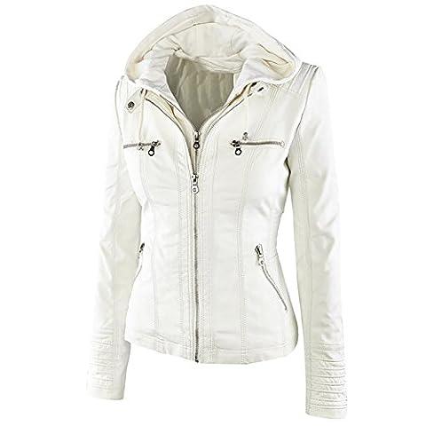 Blivener Kapuzen Kunstleder Damen Jacke Motorradjacke Ladies Oberbekleidung Weiß S