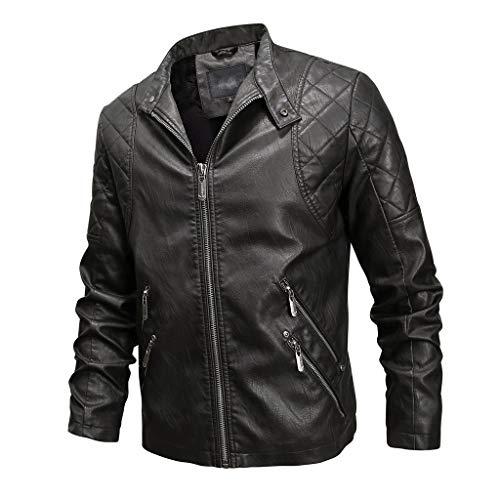 LIMITA Herrenjacke Winter Lederjacke Bomberjacke Slim Fit Biker-Jacke Motorradjacke Reißverschluss Langarm Mantel Top Blusen Winddichte Lederjacke (L'rain Kostüm)