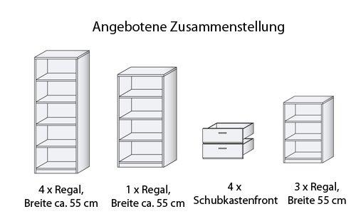 Regalwand B/H/T ca. 275/232/36 cm in Silbereiche-Dekor aus Soft Plus von CS Schmal - 2