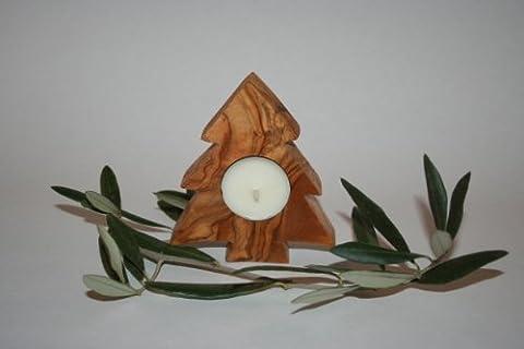 Teelichthalter Form Weihnachtsbaum aus Olivenholz und seine Kerze