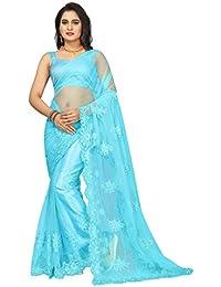 I-Brand Women's Georgette & Mono Net & Banglori Satin Fabric Saree With Blouse Piece