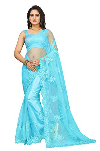 Bollywood Craze Women\'s Net Embroidered Saree with Blouse Piece(BCZSA2696_Blue_Free Size)