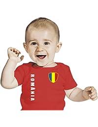 Rumänien BABY T-Shirt - Trikot Look - EM 2016 rot