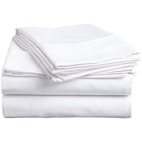 Solide Ägyptischer Baumwolle Blatt (Zorificraft Bettlaken-Set, hochwertig, Fadenzahl 600, 100% ägyptische Baumwolle, Weiß, Queen 38,1 cm Tiefe Tasche, 4-teilig Queen weiß)