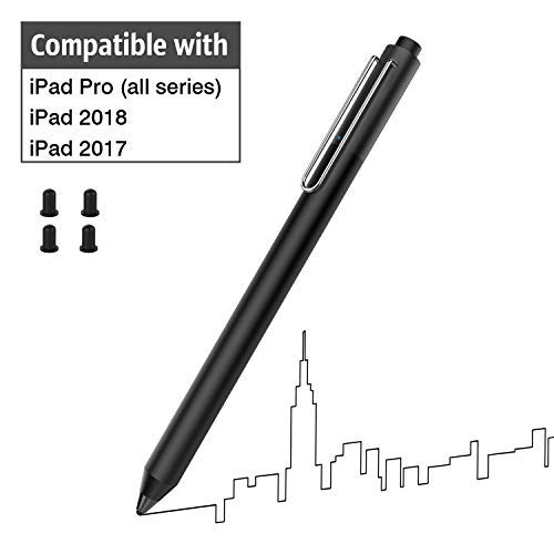 MoKo Aktiver Stylus Pen für iPad, hohe Empfindlichkeit, wiederaufladbarer kapazitiver Digitaler Stift, kompatibel mit iPad Pro 9.7/10.5/11/12.9, iPad 9.7 2017/2018, iPhone XS/Max/XR, Schwarz Mini Digital Stylus
