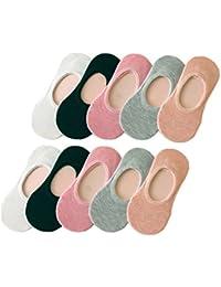 Tuopuda 10 Pares Calcetines Invisibles Mujer De Algodón Calcetines Cortos Elástco Con Silicona Antideslizante