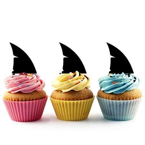 Innovedesire Shark Fin Kuchenaufsätze Hochzeit Geburtsta Acryl Dekor Cupcake Kuchen Topper Stand für Kuchen Party Dekoration 10 Stück (Cupcake Toppers Shark)