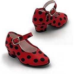FLAMENKITAS Calzado de Danza Para Mujer - Zapatos Flamenca Correa - Hecho EN España - Color - Rojo Lunares Negros, Talla - 31