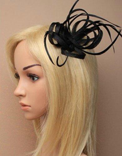 Schwarz Loop Feder Schnabelclip Fascinator Damen Tag Royal Ascot Hochzeiten (Funeral Hat Black)