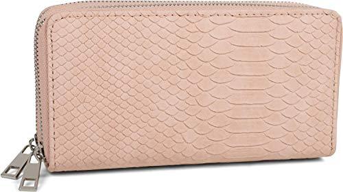 styleBREAKER Damen Geldbörse in Krokodilleder Optik, 2 umlaufende Reißverschlüsse, Portemonnaie 02040126, Farbe:Rose