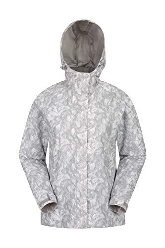 Mountain Warehouse Torrent Bedruckte Damenjacke - leichte, lässige, wasserdichte Damen-Regenjacke, verstellbare Kapuze, leicht verstaubar - zum Reisen, auf Spaziergängen, Frühling Grau DE 46 (EU 48) - Bedruckte Fleece-jacke