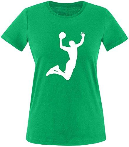 EZYshirt® Basketball | Slam Dunk Damen Rundhals T-Shirt Grün/Weiß