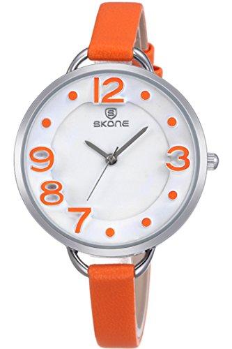Skone Femme Orange grosse chiffres romains personnalisée Design rond bracelet montre