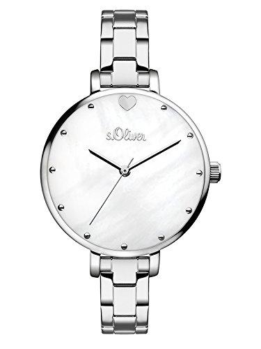 s.Oliver Damen Analog Quarz Armbanduhr mit Edelstahl Armband SO-3549-MQ