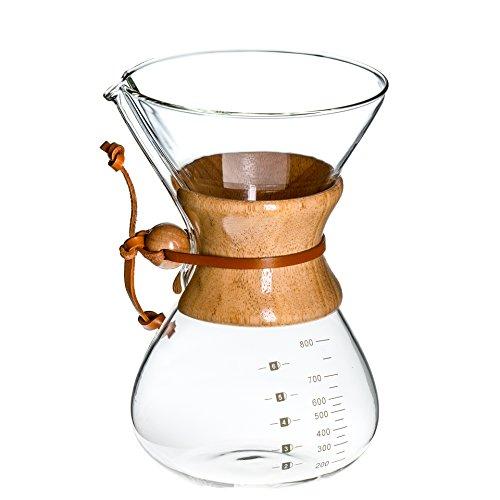 Prime Coffee Handfilter Glas Karaffe für Filterkaffee 800ml