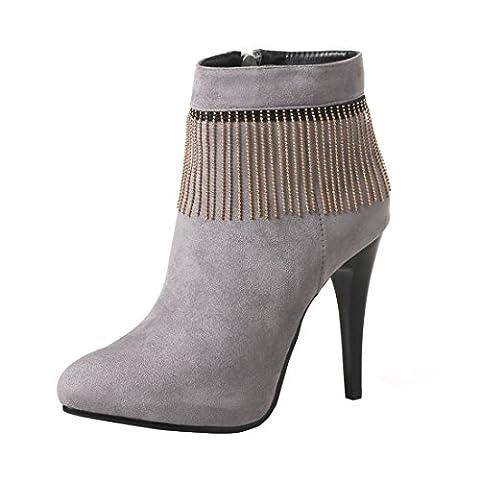 YE Damen Ankle Boots Spitze Stiefeletten Stiletto High Heels Plateau mit Fransen Ketten und Reißverschluss Elegant