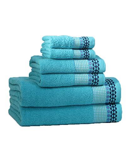 RAAF TEXTIL Juego de Toallas de baño 6 Piezas (Azul Petroleo, 2-100x150 2-50x100 2-30x50)