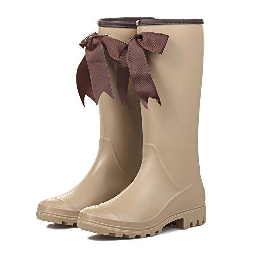 Signora PVC Con Antiscivolo Impermeabile Stivali da pioggia apricot
