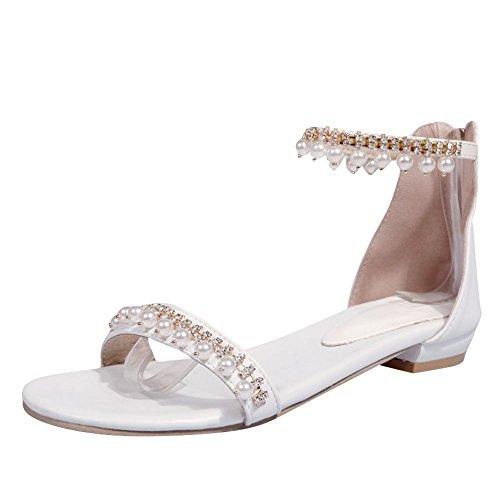 MissSaSa Donna Scarpe col Tacco Basso Sandalo Eleganti Bianco